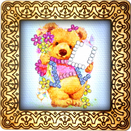 Magnet bead embroidery kit «M-0061 Teddy Preparing for School»