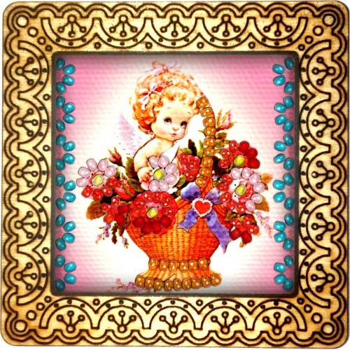 Magnet bead embroidery kit «M-0131 Playing in the Flowers»