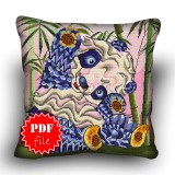 Pillow Cross stitch pattern «pdf-H-0004 Playful Panda»