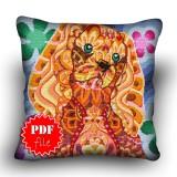 Pillow Cross stitch pattern «pdf-H-0014 Curious Cocker»