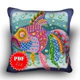 Pillow Cross stitch pattern «pdf-H-0024 Kooky Koi»