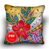 Pillow Cross stitch pattern «pdf-H-0034 Meditation Flower»