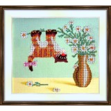 Bead embroidery kit «A-0084 Kitty Out on a Limb»