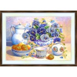 Bead embroidery kit «A-0174 Apricots 'n Pansies»
