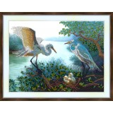 Bead embroidery kit «A-0285 Heron Family»
