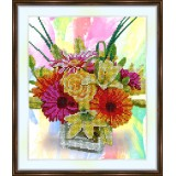 Bead embroidery kit «A-0305 Boquet in a Square Vase 2»