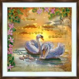 Bead embroidery kit «A-0489 Swan Family»