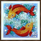 Bead embroidery kit «A-0532 Golden Carps»