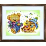 Bead embroidery kit «K-0033 Teddy Bear with his Sleigh»