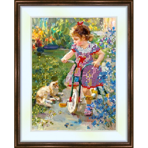 Bead embroidery kit «K-0043 Come with Me Kitty»