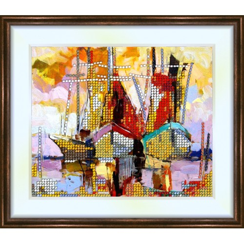 Bead embroidery kit «K-0113 Ships in the Harbor»
