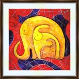 Bead embroidery kit «K-0164 Trunks Up Elephants»