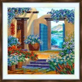 Bead embroidery kit «K-0184 Patio of the Blue Flowers»