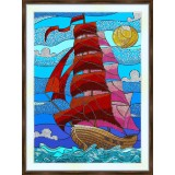 Bead embroidery kit «K-0204 Scarlet Sails»