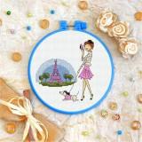 Cross stitch kit «T-0129 Walking Her Dog in Paris»