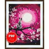 Cross stitch pattern «pdf-S-0014 Watching the Moon»