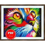 Cross stitch pattern «pdf-S-0025 Rainbow Cat»