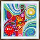 Cross stitch pattern «pdf-S-0045 Stylized Cat»
