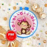 Cross stitch pattern «pdf-T-0014 Miss Monkey»