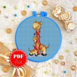 Cross stitch pattern «pdf-T-0024 Red Scarfed Giraffes»