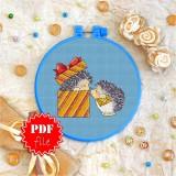 Cross stitch pattern «pdf-T-0034 Baby Hedgehogs»