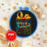 Cross stitch pattern «pdf-T-0044 Happy Birthday 3»