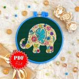 Cross stitch pattern «pdf-T-0104 Flowered Baby Elephant»