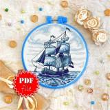 Cross stitch pattern «pdf-T-0134 Sailing Ship»