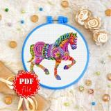 Cross stitch pattern «pdf-T-0219 Mandala Horse»