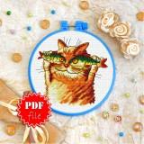 Cross stitch pattern «pdf-T-0249 Cat Fisher»