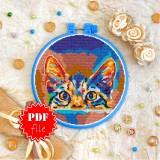 Cross stitch pattern «pdf-T-0350 Curious Cat»