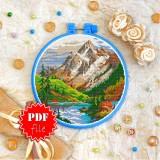 Cross stitch pattern «pdf-T-0403 Mountain Lake»