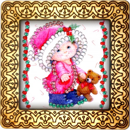 Magnet bead embroidery kit «M-0012 Little Girl with her Teddy»