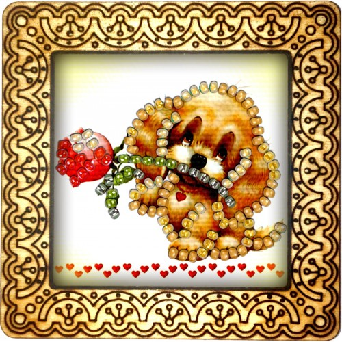 Magnet bead embroidery kit «M-0032 Puppy With A Rose»