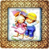 Magnet bead embroidery kit «M-0042 Best Friends Playing in the Rain»