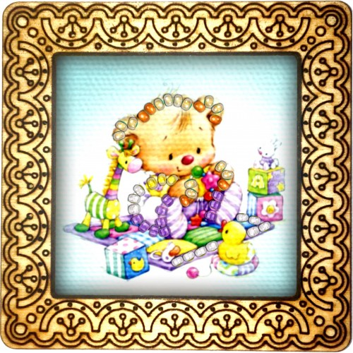 Magnet bead embroidery kit «M-0062 Teddy with Toy Friends»