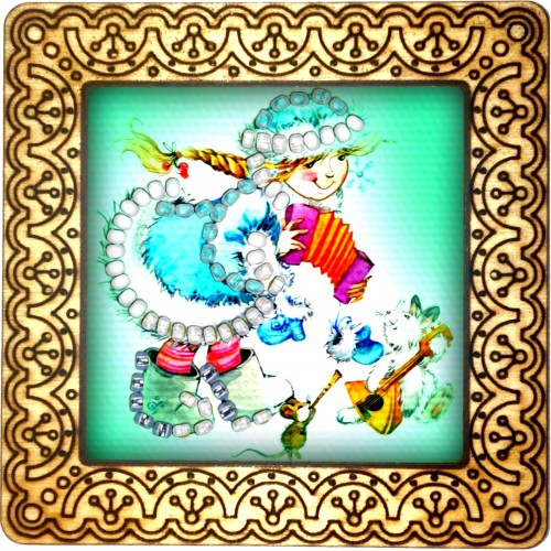 Magnet bead embroidery kit «M-0102 Snow Maiden Making Music»