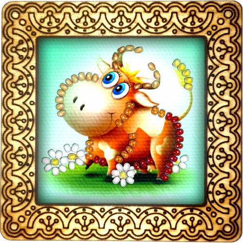 Magnet bead embroidery kit «M-0112 Happy Cow»