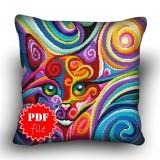 Pillow Cross stitch pattern «pdf-H-0005 Peeking Kitty»