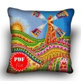 Pillow Cross stitch pattern «pdf-H-0025 Welsh Windmill»