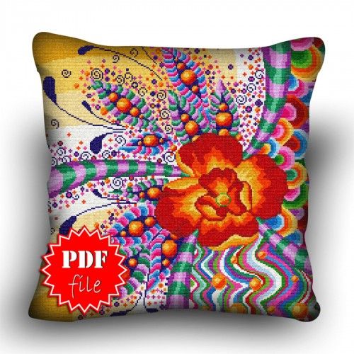 Pillow Cross stitch pattern «pdf-H-0035 Fractious Flower»