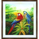 Bead embroidery kit «A-0215 Red Parrot,Blue Parrot»
