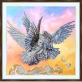 Bead embroidery kit «A-0276 White Doves in Flight»
