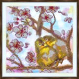 Bead embroidery kit «A-0296 Birdie Love on the Cherry Branch»