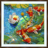 Bead embroidery kit «A-0366 Golden Carps»