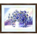 Bead embroidery kit «K-0064 Vase Draped in Blue Flowers»