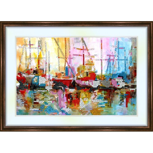 Bead embroidery kit «K-0114 Ships at the Dock»