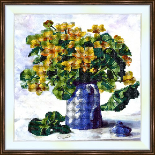 Bead embroidery kit «K-0185 Yellow Flower Bouquet»