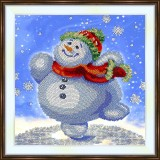 Bead embroidery kit «K-0195 Dancing Snowman»