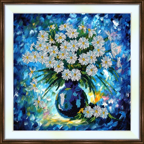 Bead embroidery kit «K-0215 Dasies Surrounded in Blue»